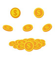 set icon coins and money lots gold coins vector image