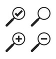 set of loupe icon magnifier in flat style search vector image