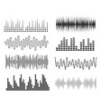 set of sound music waves audio technology musical vector image
