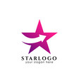 star logo design with arrow symbol in middle vector image vector image