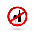 stop alcohol sign with shadow vector image