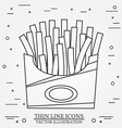 thin line icon fries in box for web design vector image