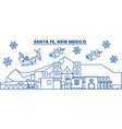 usa new mexico santa fe winter city skyline vector image vector image