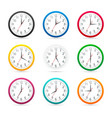 wall clocks with different colors design icon vector image