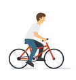 young man on bicycle vector image vector image