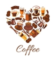 Coffee love label in shape of heart vector image