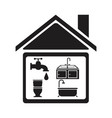 black silhouette house with elements bathroom for vector image