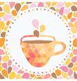 Triangle cup of tea or coffee with doodle steam vector image
