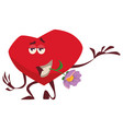 a gallant heart holds a lilac flower in its teeth vector image