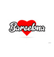 barcelona city design typography with red heart vector image