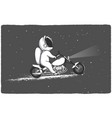 biker astronaut rides through the universe vector image vector image