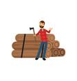 cartoon flat bearded lumberjack standing near pile vector image vector image