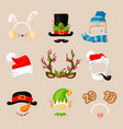 christmas photo prop booth mask collection santa vector image