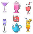 collection stock drink set various vector image vector image