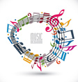 Colorful music background with clef and notes vector image vector image