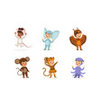 cute adorable kids wearing animal costumes set vector image vector image