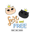 cute cat slogan print love and free lettering vector image vector image