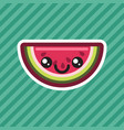 cute kawaii smiling watermelon cartoon icon vector image vector image