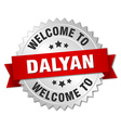 Dalyan 3d silver badge with red ribbon vector image vector image