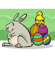 easter bunny and eggs cartoon vector image vector image