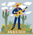 flat cartoon of a mexican man playing guitar in vector image vector image