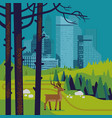 forest landscape with large city in background vector image