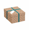 gift box with ribbon over white background vector image vector image
