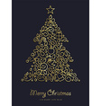 Gold Christmas and new year ornamental pine tree vector image vector image