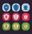 gray red and green shield icons vector image vector image