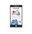 greek island santorini on mobile phone in colorful vector image vector image
