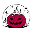 halloween composition smiling creepy pumpkin vector image