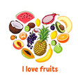 isolated heart silhouette made of fruits healthy vector image