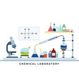 laboratory chemical research flat design vector image vector image