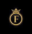 letter f royal crown luxury logo design vector image vector image
