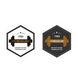 logo template with the dumbbell gym emblem label vector image
