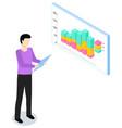 man study statistics on background analyze graphs vector image vector image
