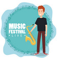 music festival live with man playing saxophone vector image vector image