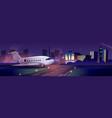 passenger aircraft on airport runaway vector image vector image