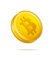realistic golden bitcoin coin on white background vector image vector image