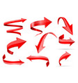 red 3d shiny arrows set of curved icons vector image vector image