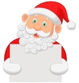 Santa cartoon holding blank sign vector image vector image