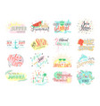 set summer hand drawn labels logos or card vector image