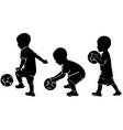 silhouette little kid soccer player with ball vector image
