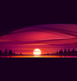 sunset on lake red sky with sun go down pond vector image vector image