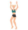 teenage girl wearing swimming suit raising hands vector image