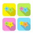 two colorful starfish flat icon with long shadow vector image