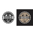 two style barbershop round badge on white and dark vector image vector image