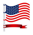 united states flag with ribbon icon vector image vector image