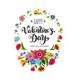 valentines day card lettering in floral frame vector image