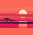vivid sunset over african lake vector image